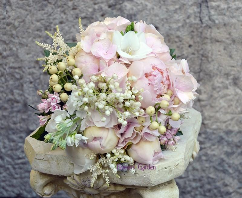 Buchet Mireasa Cu Bujori Si Lacramioare Ileana Flowers Garden