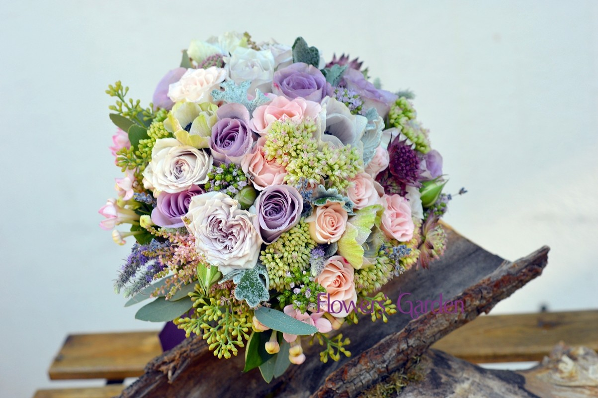 Buchet Mireasa Cu Trandafiri Mov Si Miniroze Flowers Garden