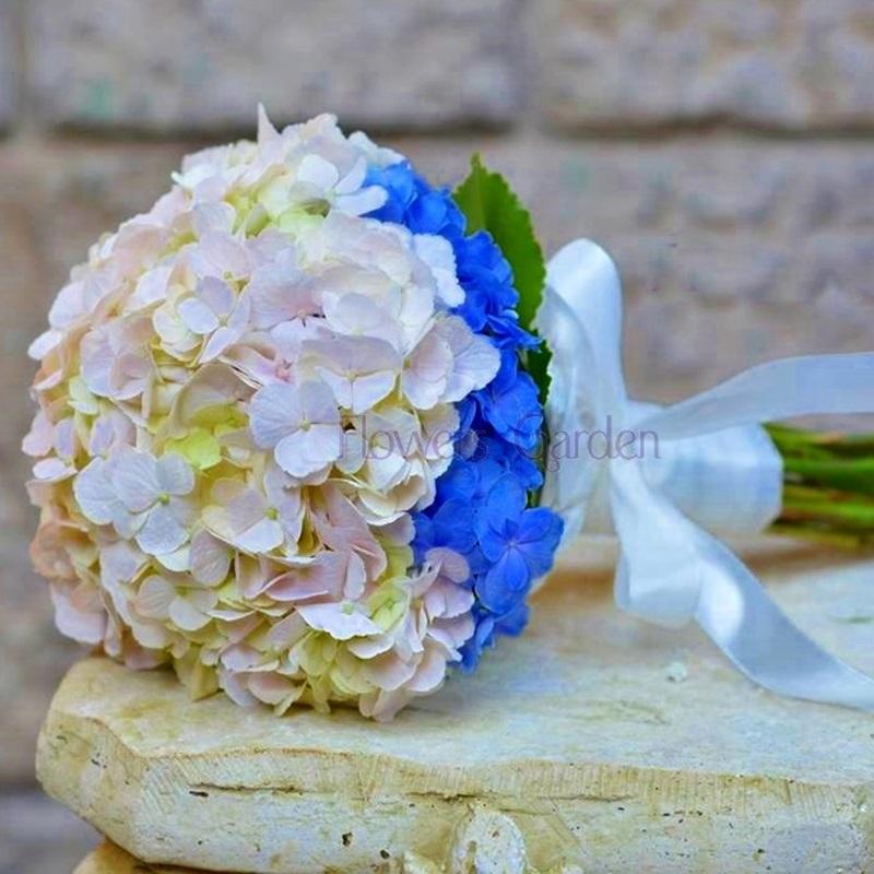 Buchet Mireasa Cu Hortensii Albastre Si Roz Flowers Garden