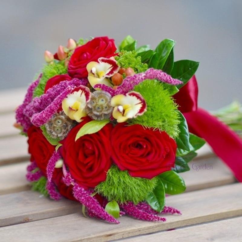 Buchet Mireasa Cu Trandafiri Rosii Si Orhidee Elena Flowers Garden