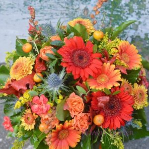 Aranjament floral de toamna in dovleac